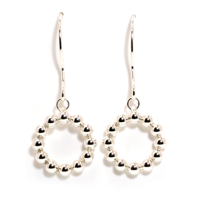 All circle silver sphere dangle earrings