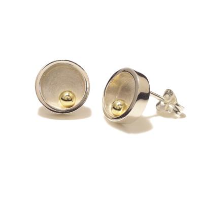 Closed gold ball stud circle earrings