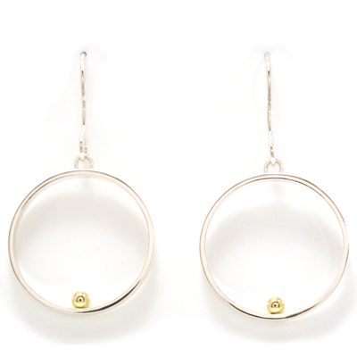 Ear hook open circle gold ball earrings