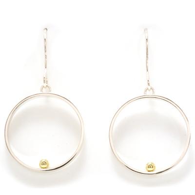 Ear hook open circle gold ball earrings