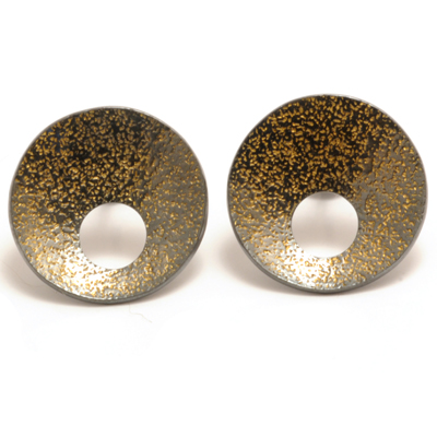 oxidised silver with gold flecks earrings