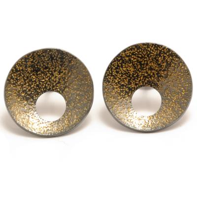 oxidised silver with gold flecks earrings