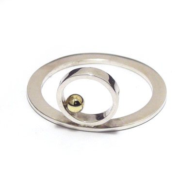 Gold ball 90 degree ring