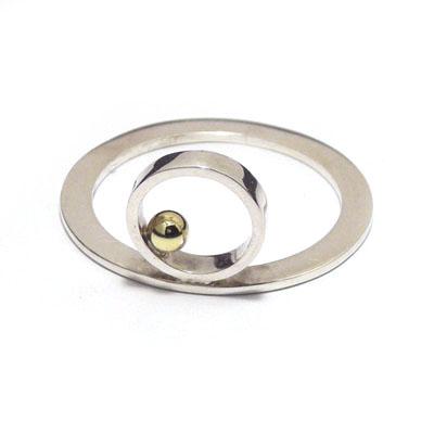 Gold ball 90 degree ring