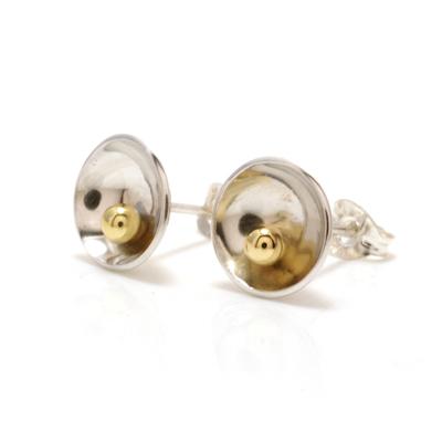 Gold ball concave earrings