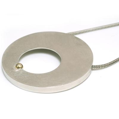 Gold ball flat circle pendant