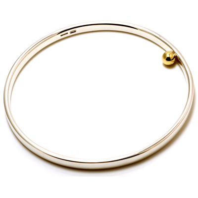 Silver bangle with single 18ct gold ball
