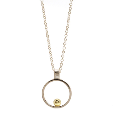 Gold ball open cirlce mini pendant