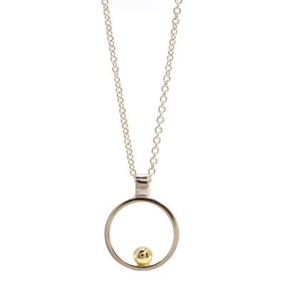 Gold ball open cirlce mini pendant