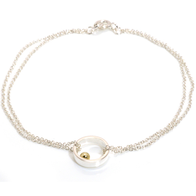 Gold ball single circle chain bracelet