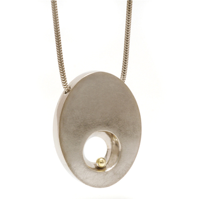 Gold ball tapered hole pendant