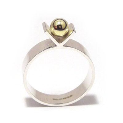 Gold ball V ring