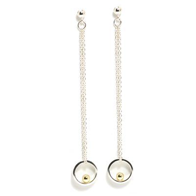 Long length loop earrings with gold ball