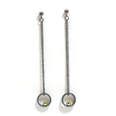 Long length loop oxidised earrings with gold ball