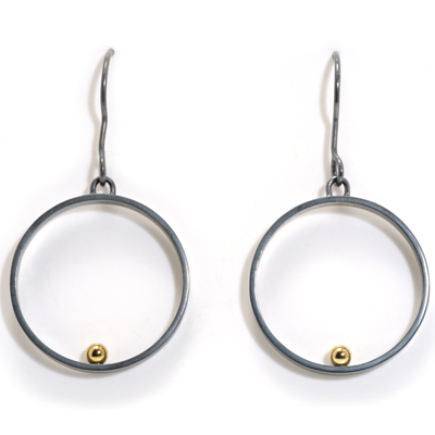 Oxidised ear hook open circle gold ball earrings