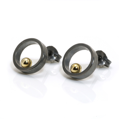 Small open circle gold ball oxidised earrings