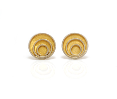 mini triple circle gold plated earrings