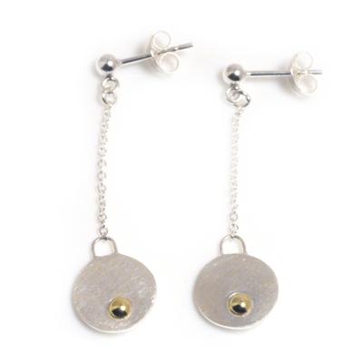 machi de waard small dangle disc with gold ball earrings