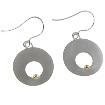 machi de waard disc with hole and gold ball earrings
