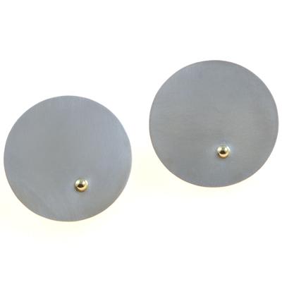 machi de waard large disc studs with gold ball earrings
