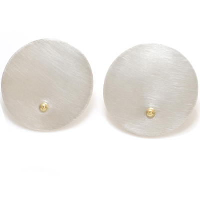 machi de waard large disc with gold ball stud earrings