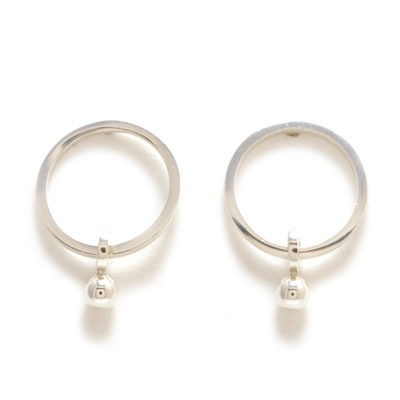 machi de waard simple circle with silver ball earrings