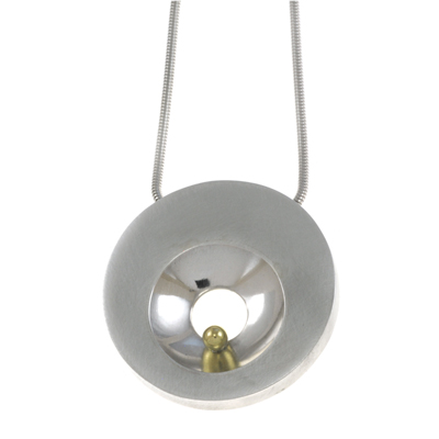 machi de waard shiny concave cut out with gold ball large pod pendant 400px