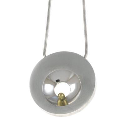 machi de waard shiny concave cut out with gold ball large pod pendant 400px