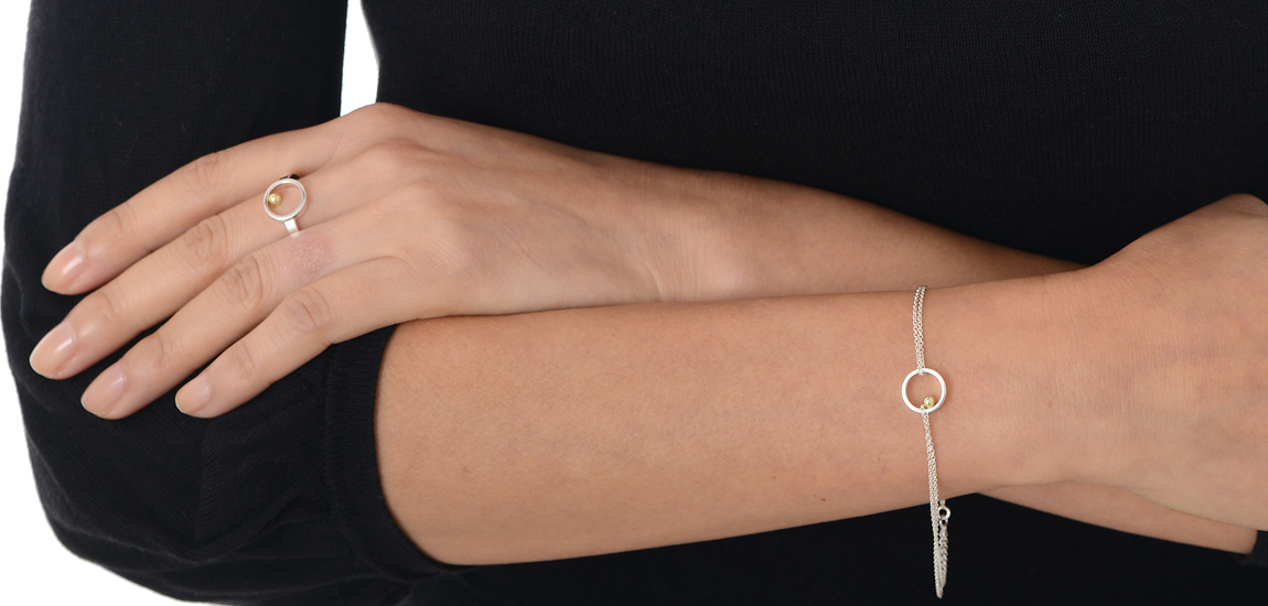 Machi de Waard gold ball chain bracelet and ring