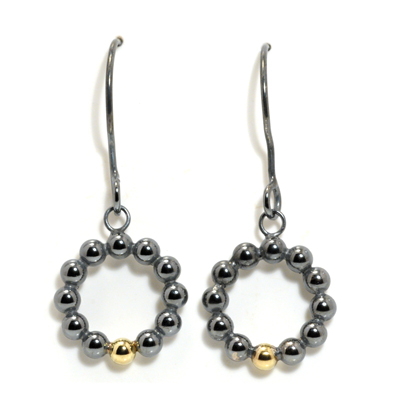 All circle oxidised silver and gold sphere dangle earrings