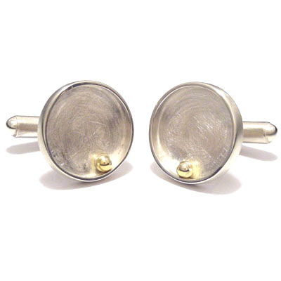 Gold ball closed circle cufflinks