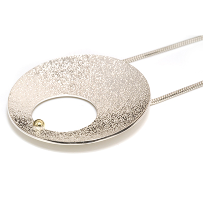Gold ball concave textured pendant