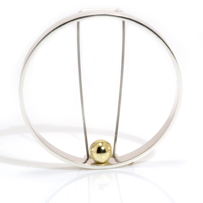 Gold ball open circle brooch