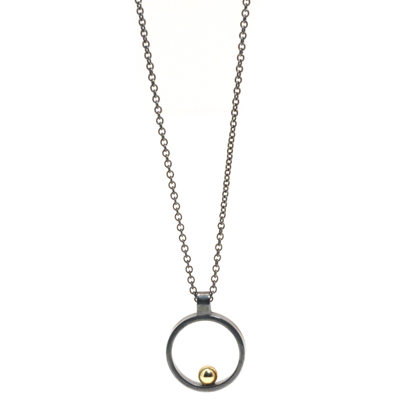 Gold ball oxidised open cirlce mini pendant