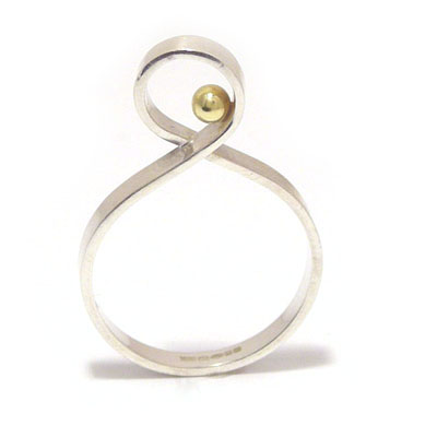Gold ball twist ring