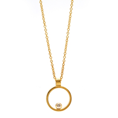 Gold ball vermeil open cirlce mini pendant