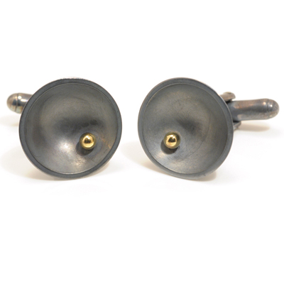 Large oxidised dent gold ball cufflinks