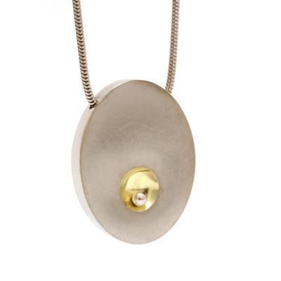 Silver ball gold dent pendant