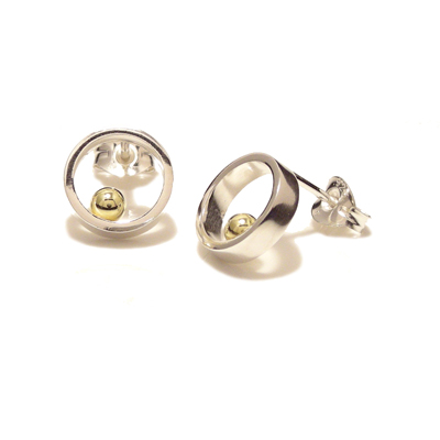 Small open circle gold ball earrings