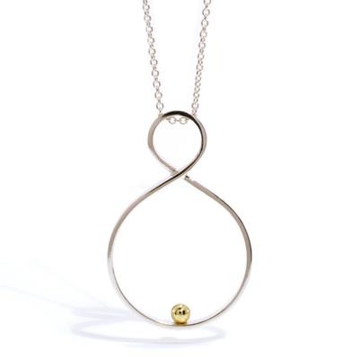 Twist pendant with gold ball