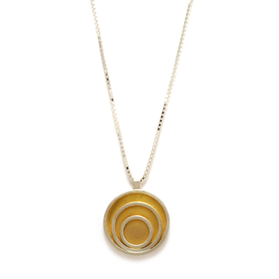 triple circle gold plated pendant