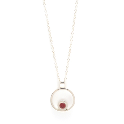 machi dewaard open circle berryllium red sapphire mini pendant