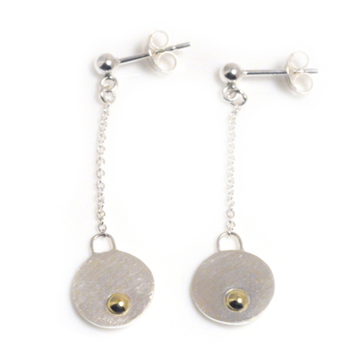 machi de waard small dangle disc with gold ball earrings